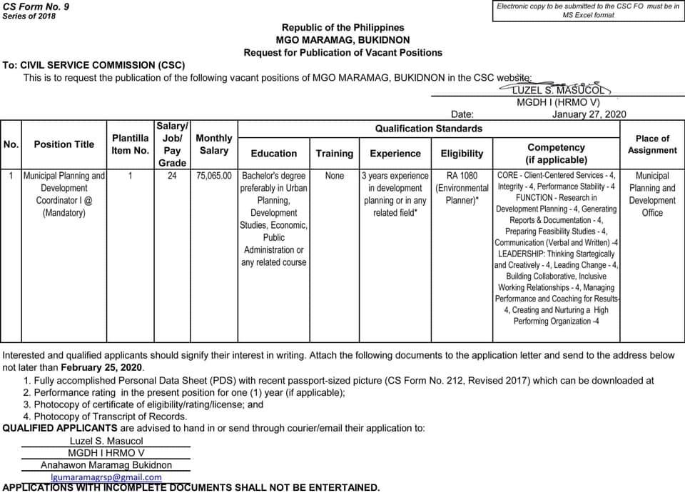 Municipal Planning and Development Coordinator 1